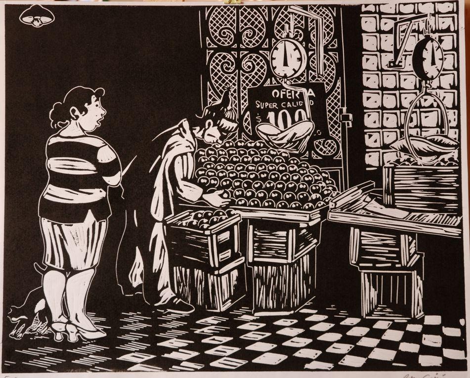 Aqui, algunos grabados originales de Loro Coirón que son a la venta en la Galeria de Arte de Valparaiso, Bahia Utopica. La Galeria de Arte Bahía Utópica tiene mas de 250 otros grabados de Loro Coirón.