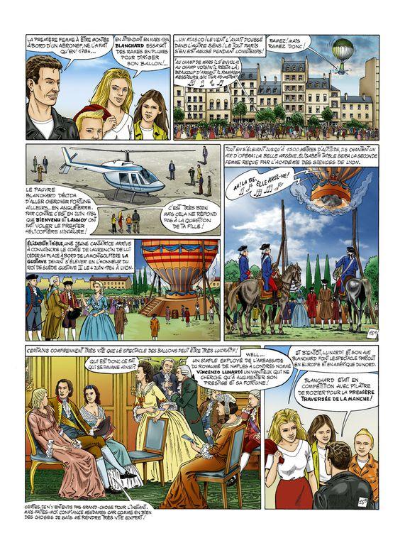 """Couleurs de l'album """"Histoire de l'aéronautique, T1"""" - dessin, Marcel Uderzo.Prix du public aux 5e rencontres 2009 de la BD aéronautique et spatiale du musée du Bourget."""
