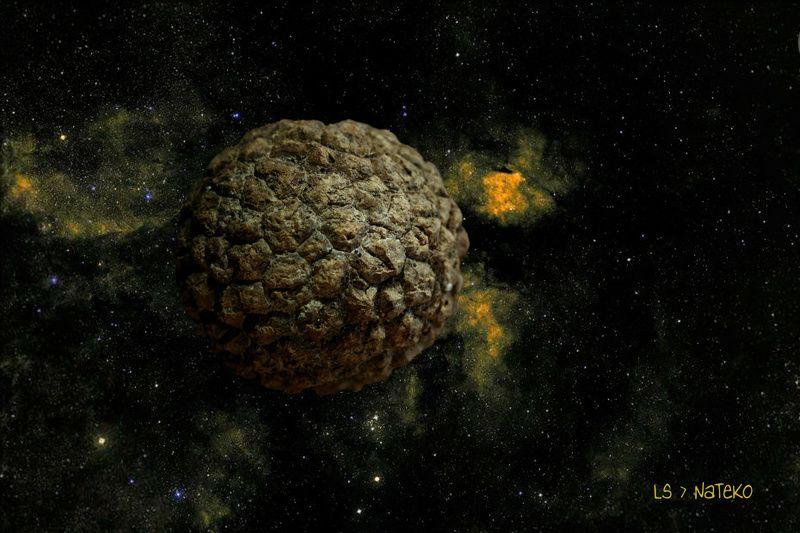Voici 9 #Exoplanètes de l'univers #NaTeKo. Toutes ces planètes proviennent des plages de Cayenne. 8 d'entre elles, ont un noyau très dense et sont couvertes de plusieurs couches see désagrégeant avec le temps. La planète intrus a un cœur liqui