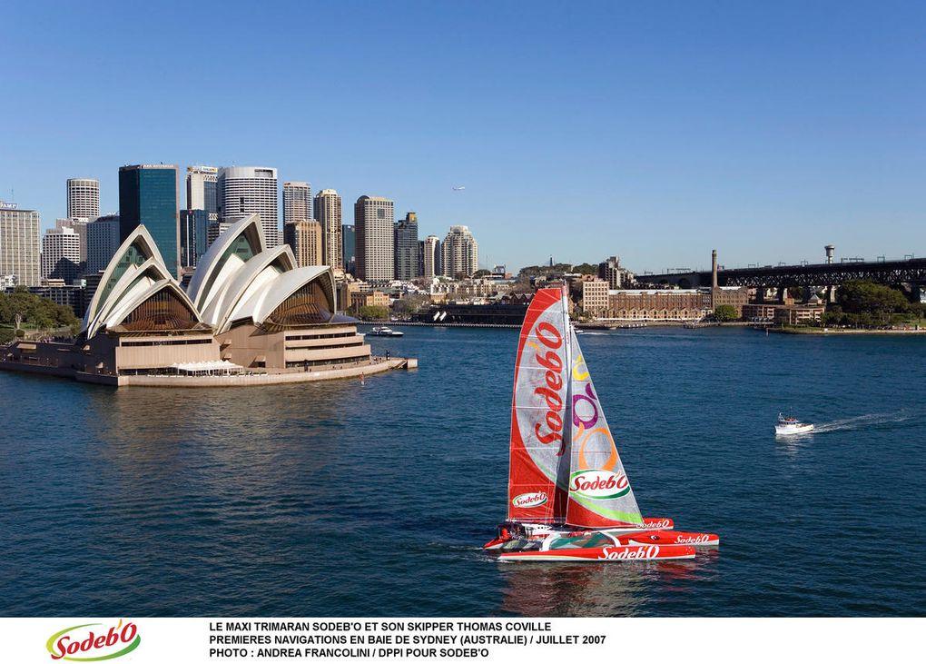 Voici les plus belles images du Maxi Trimaran Sodebo, né en Australie et qui a fait le voyage retour jusqu'en France. Photos Cpyrght Pierrick Robert et Andrea Francolini