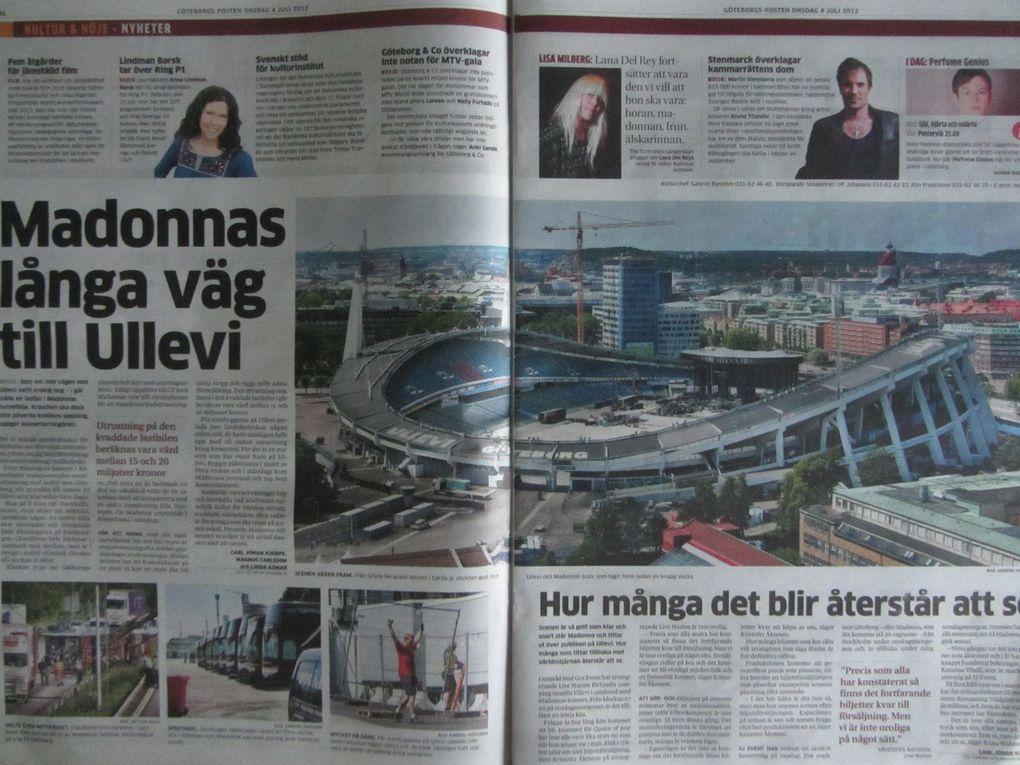 Photos by Ultimate Concert Experience. Swedish newspapers from July 04, 2012 and July 05, 2012 on the show at Ullevi Stadium in Gothenburg, Sweden - July 04, 2012.