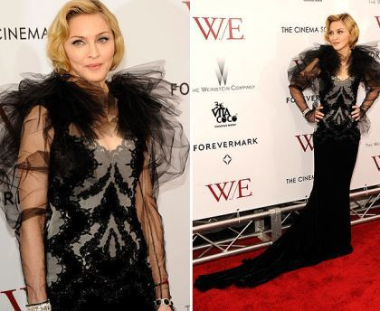 Hosted by the Weinstein Company and The Cinema Society, at the Ziegfield Theater in New York on January 23, 2012. Madonna wears a Marchesa dress. Marchesa designer Georgina Chapman is married to Harvey Weinstein.
