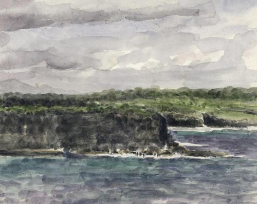 Aquarelles illustrant le diversité des payasages de la Guadeloupe. Auteur : Claudie Pavis.