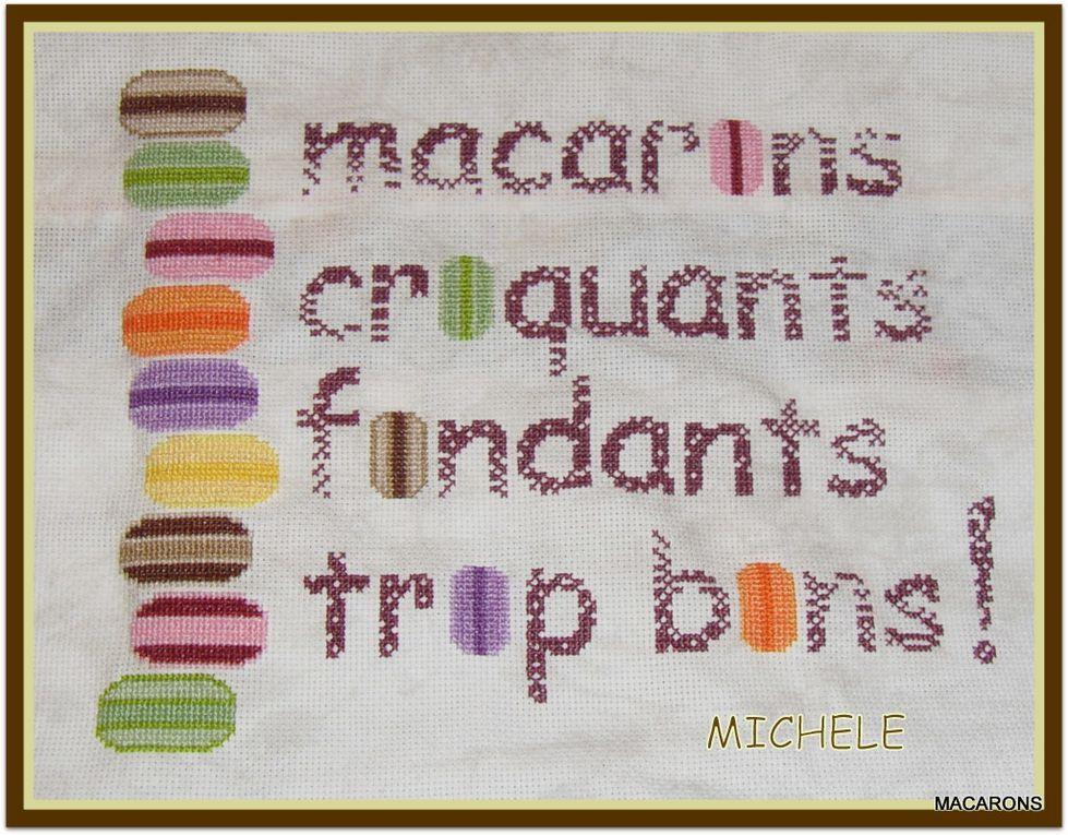 1 février 2012 je vous invite à croquer les macarons  ici vous trouverez les divers interprétations des brodeuses goumandes &#x3B;-)) qui ont gentilllement partagées l'ouvrage avec moi .merci a toutes pour vos sympatiques petites croix .