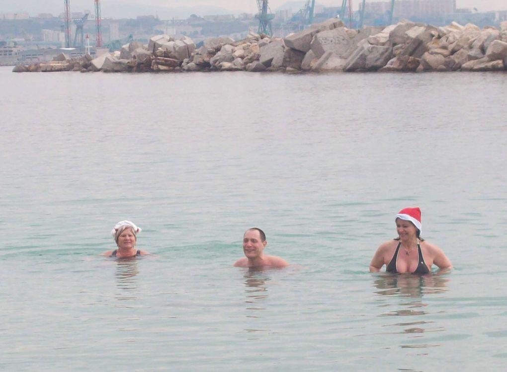 premier bain de l'année à Corbières pour les Amicalistes