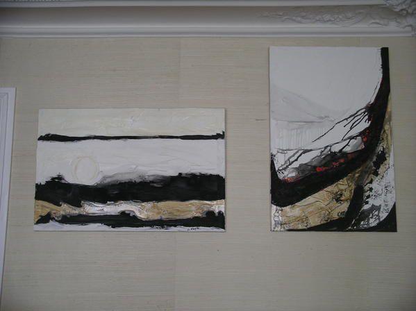 Peintures abstraites à l'huile sur toile ou papier toilé.
