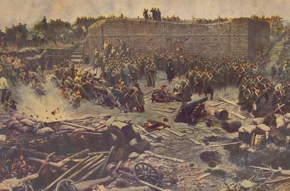 Reproduction de tableaux historiques sur la guerre de Crimée