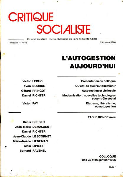 Album - L-AUTOGESTION-AUJOURD-HUI---CS-N-52-2trim1986