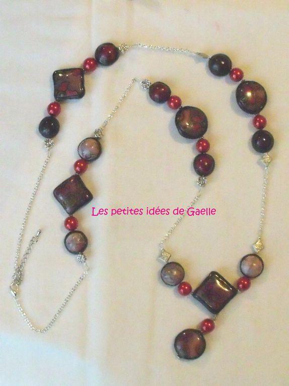 bijoux en pate poymère Pardo, perles rocaille, en verre, en métal.