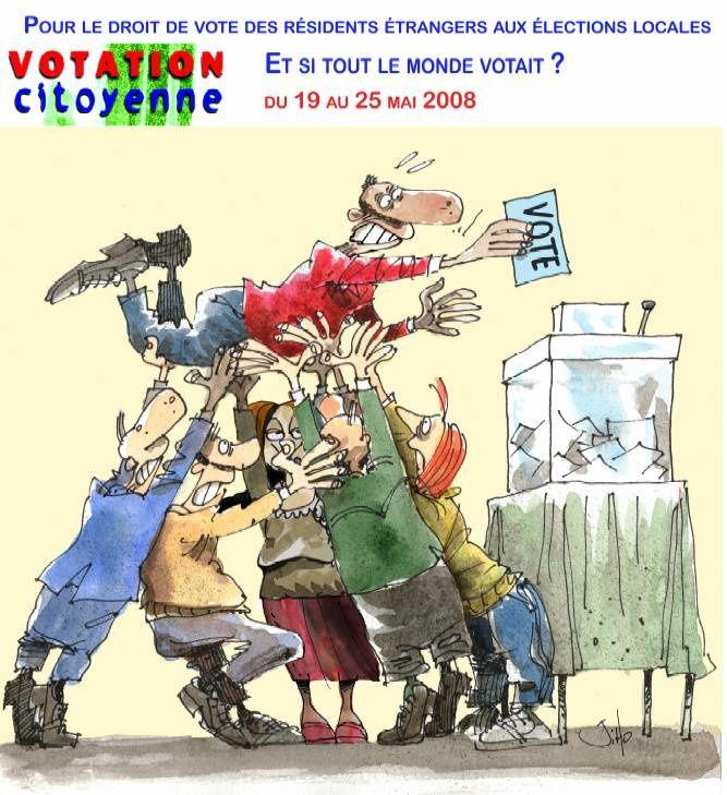 Affiches sur le droit de vote des résidents étrangers