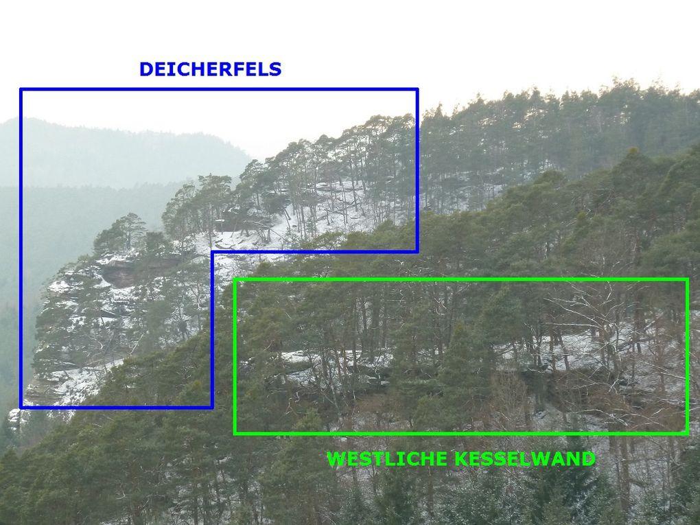 Découverte de deux sites rocheux jumeaux, l'un situé à l'Ouest et l'autre exposé à l'Est : le Westliche Kesselwand et l'Oestliche Kesselwand (commune de Spirkelbach).