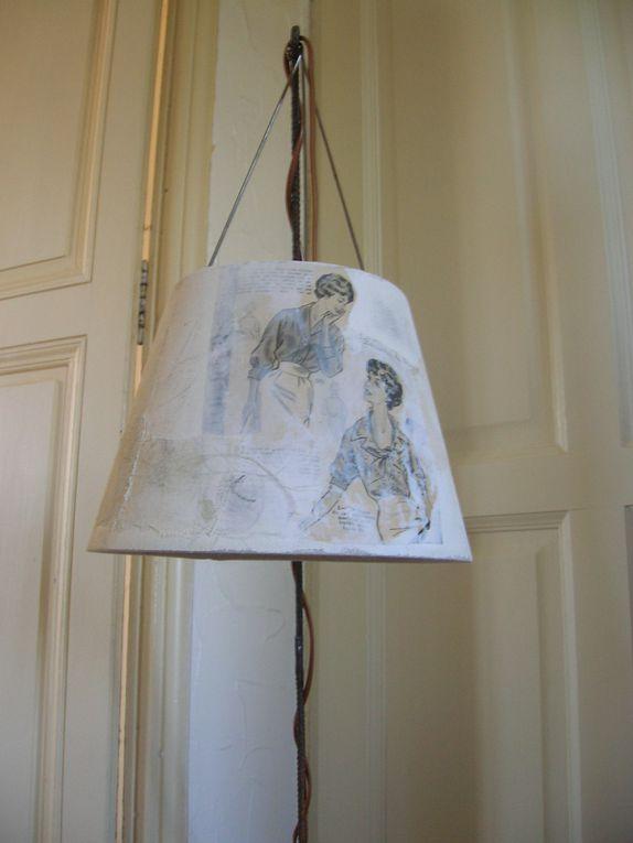 Lampe à poser env. 1mmatériaux de récup'création pièce unique