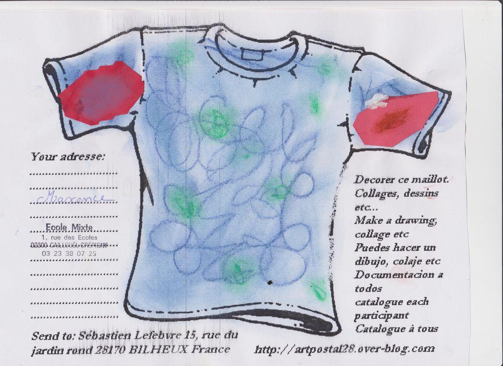 maillots reçus d'une ecole mixte primaire de l'Aisne (02)