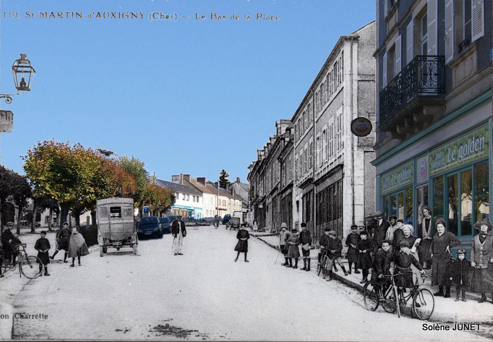 Photographies réalisées par Solène Junet à partir de prises de vue actuelles fusionnées avec d'anciennes cartes postales en noir et blanc.