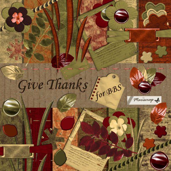 """Page réalisée par les Ladies de la CT avec le kit """"Give Thanks""""...merci les filles."""