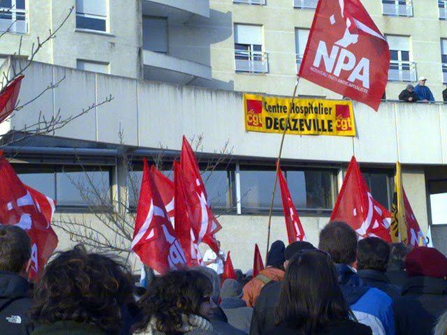 Le NPA en première ligne pour la défense de l'hopital de Decazeville. 2500 personnes ce mercredi 10 fevrier devant le C.H.
