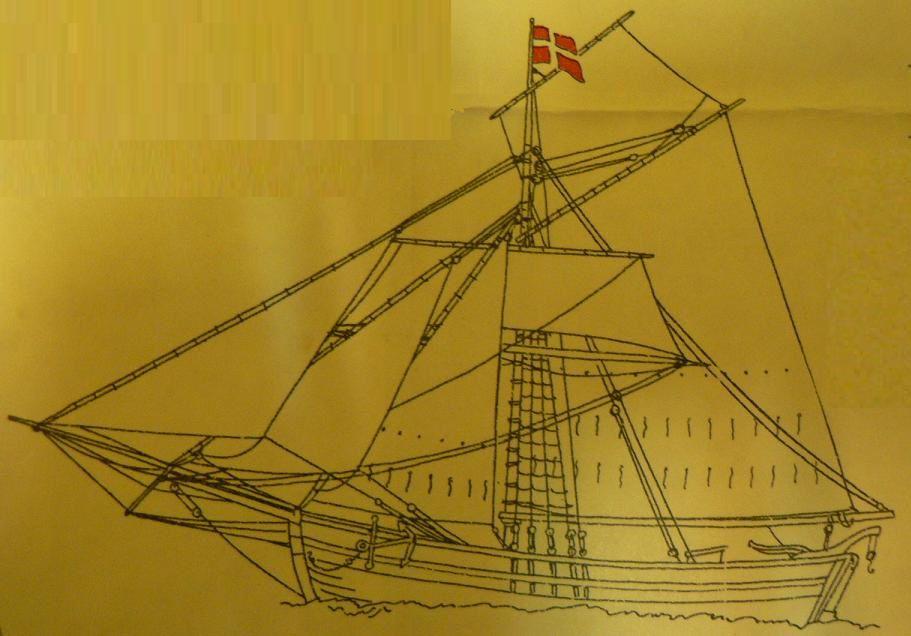 Dessins de bateaux anciens récupérés sur un papier d'emballage d'une ramette de papier de marque De Forenede.