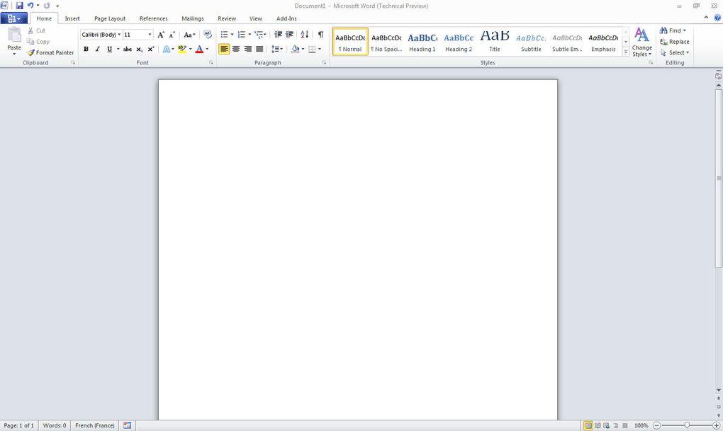 Captures d'écrans des autres logiciels Office 2010.