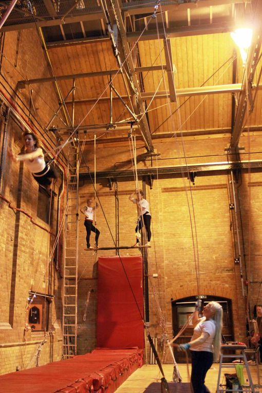 Flying trapeze class - February 2010. Kylie, Clare, Roger, Sam, Pauline.