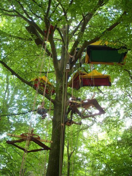 Création des tables perchées et test du montage, une semaine en forêt de Eppe-Sauvage dans le Nordjuin 2008