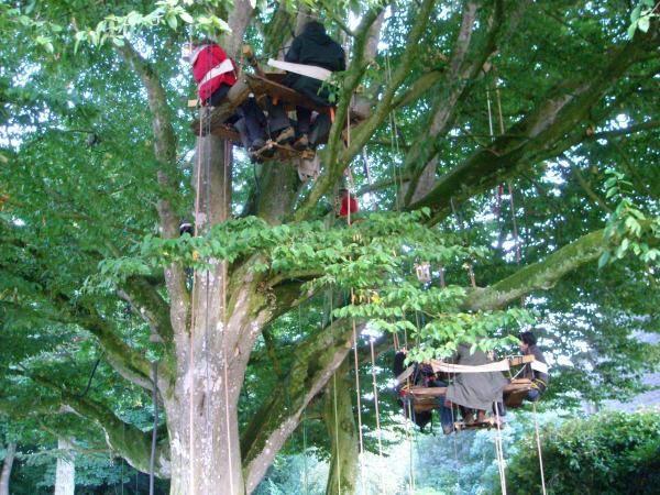 Installation de la Caravan'arbres dans le parc du château de la Sauldraie près de Lambale en Bretagne. Une semaine sous le charme...