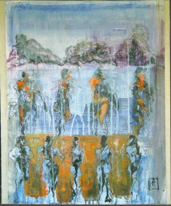 série de 8 toiles de format 15F, acrylique, encre, pigments sur papier marouflé sur toile