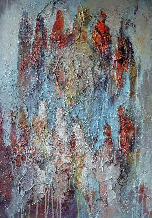 toiles de format 40F à 15F, collages, acrylique, encre et pigments sur toile