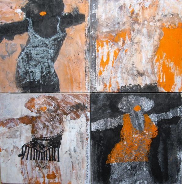 série Elles : papier marouflé sur toile, format 30 sur 30cmsérie Plumes : papier marouflé sur toile, format 22 sur 12cm (1M)