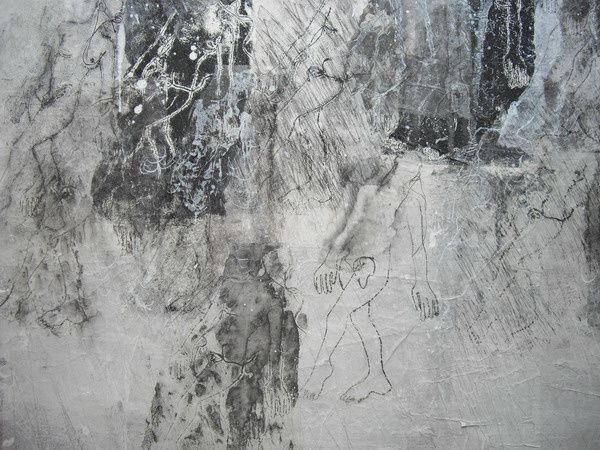Impressions d'une plaque cousue sur papiers marouflés sur toilesérie de 4 toiles
