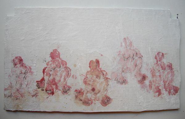 Impression d'une enchiffonnée sur papier chinois marouflé sur bois.2 panneaux