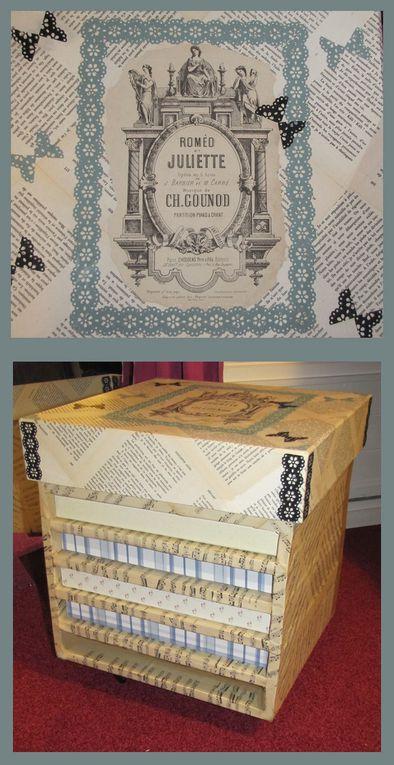 Meuble en carton recyclé et carton gris