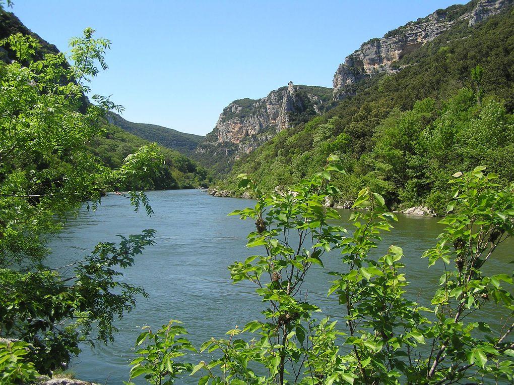 Au départ du Garn, le sentier s'enfonce au travers des taillis de chênes vert pour rejoindre l'Ardèche. le retour s'effectue par la Maladrerie des Templiers