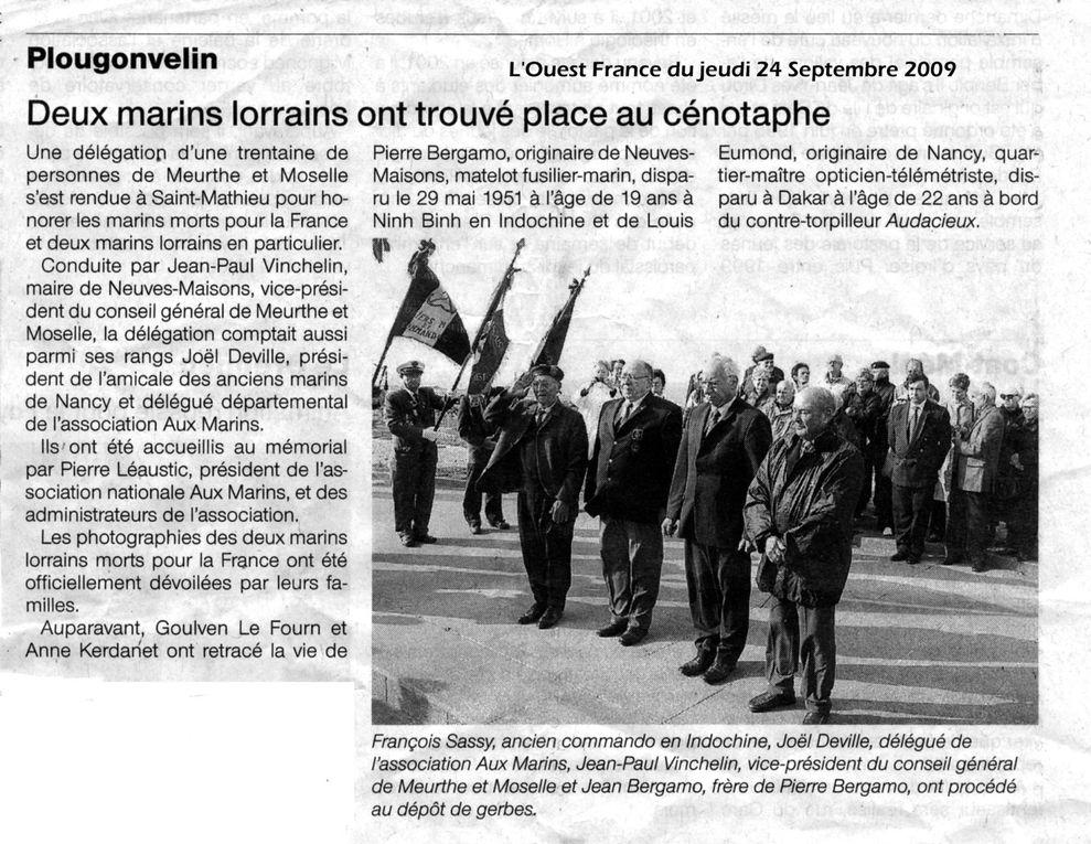 """Les articles de presse évoquant de l'association """"Aux Marins"""" au cours de l'année 2009."""