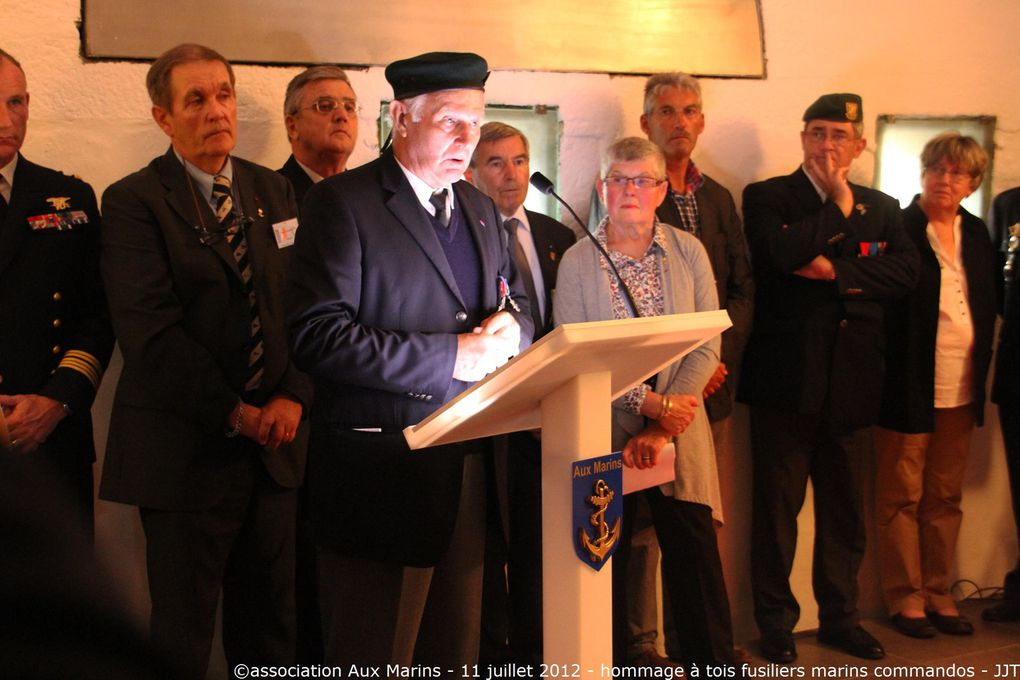 Mercredi 11 juillet 2012 - Cérémonie en hommage à trois fusiliers marins commandos morts pour la France en Algérie : Jean Scheidhauer, Pierre Petitjean, Gilbert Sénéchal. Photos : G. Tanguy - G. Kervran - J.J. Tréguer