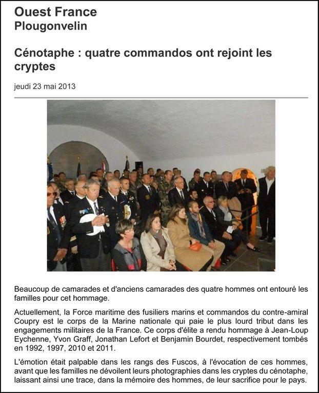 Les articles de presse relatant l'actualité de l'association Aux Marins en 2013