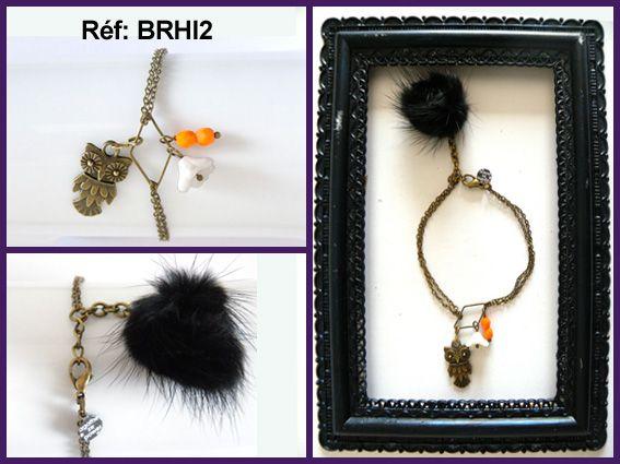 Bijoux faits main.Apprêt et chaine en métal bronze, pompon en vison, perles en verre tchèque.