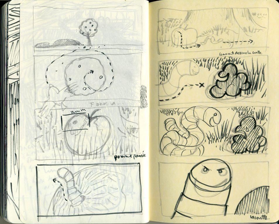 projet de film ou de livre. l'histoire d'un ver et d'une petite crotte...