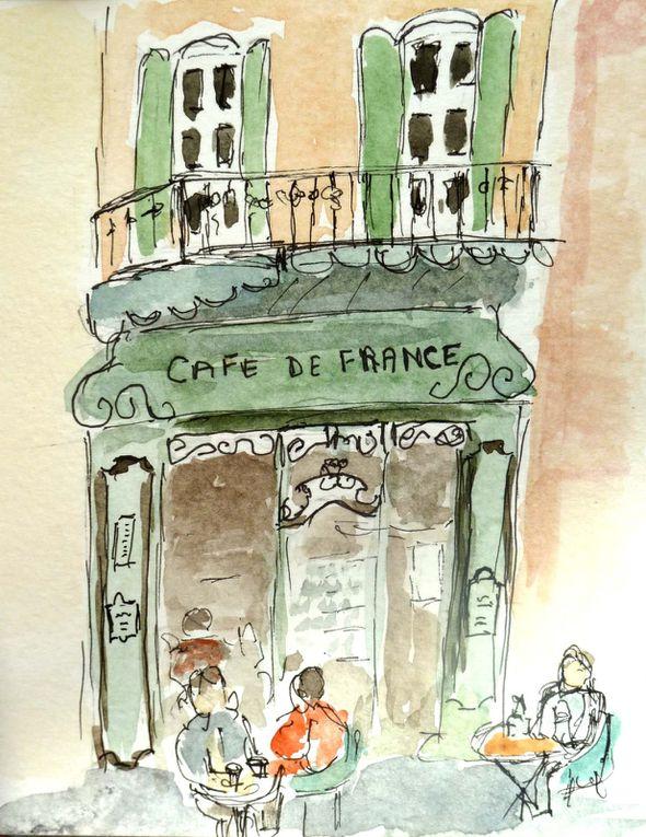 photos de l'ambiance et dessins des élèves pendant le stage carnet de voyage provençal du 24 au 29 9 12