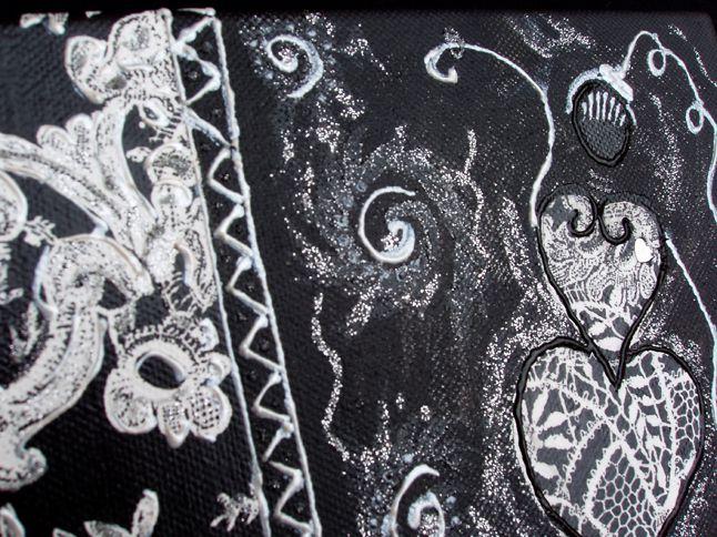 tableau de la série miss T'Coeur by Lilibeth peinture acrylique et collage divers