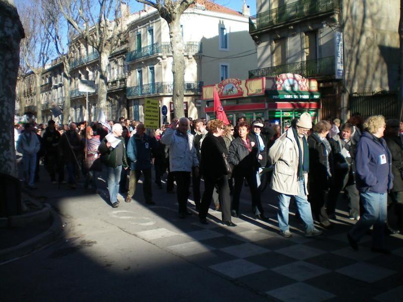 La manifestation du 29 janvier 2009 avec plus de 8.000 manifestants dans les rues de Narbonne