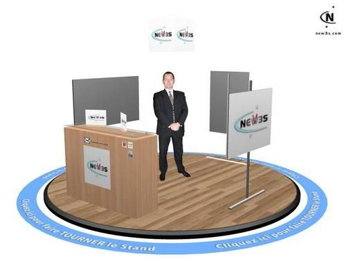 3d trade shows have potential to be dressed-up as you want. Cicular 3D booths, traditional accomodation,... imagine what you want. NEW3S does what fits to you!