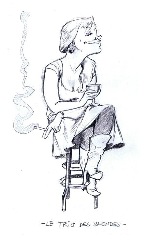 Le défi fut lancé un soir de grandes ambitions, le pif enrhumé par la Chouffe du café concert Le Courant d'air.« Chiche que je parviens à faire 100 croquis caricaturant la faune de votre café, avant Pâques! »La semaine suivante, j'é