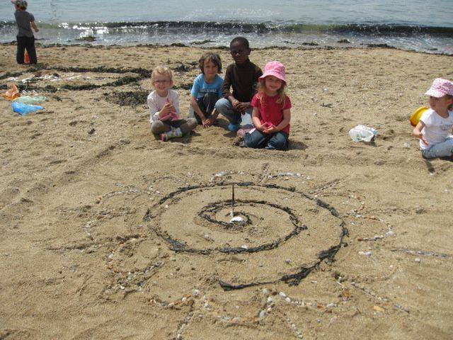 En groupe multi-âges, les élèves de maternelle ont fait du Land Art sur la plage de Préfailles.