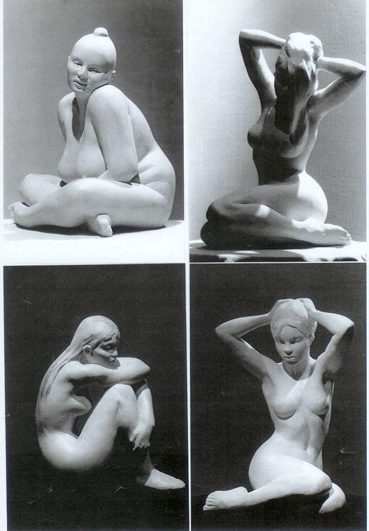 sculptures en bronze ,terre , plâtre de nus féminins.