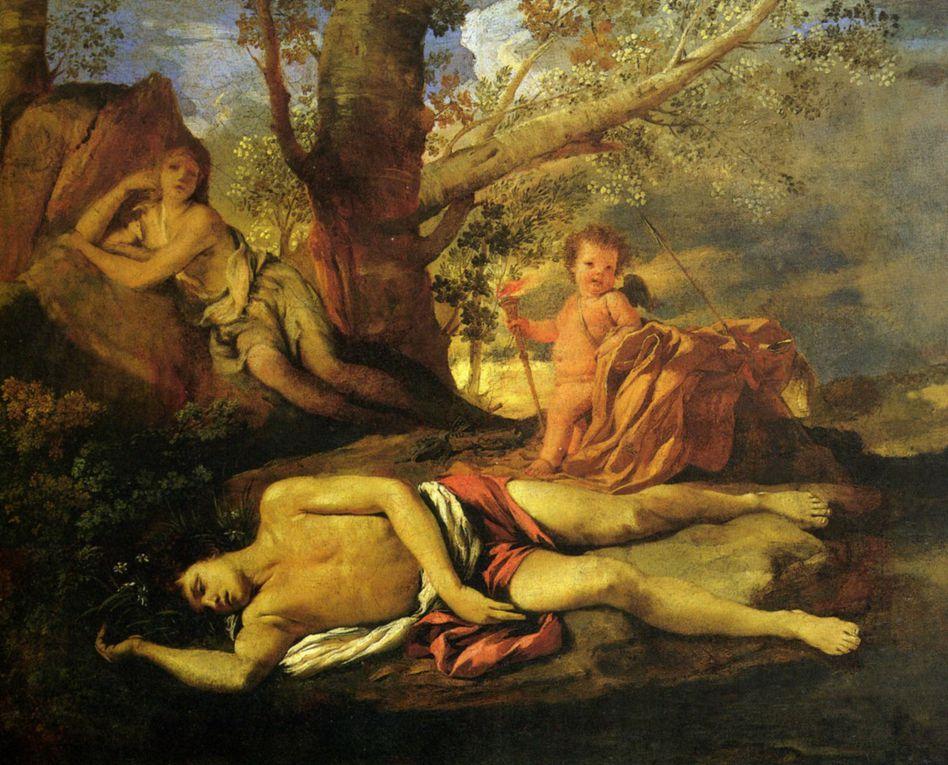 Exemples de représentations picturales du mythe de Narcisse, de l'Antiquité au XXe siècle