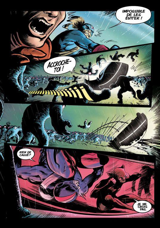 """""""Bas les Masques""""(Planches 34 à 67 - mai 2012/mars2013)L'enquête de Fox-Boy auprès d'un mystérieux terroriste est l'occasion d'un cross-over avec le Garde Républicain."""