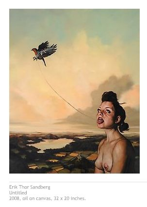 Erik Thor Sandberg combines naturalistic imagery and metaphorical content to create beautiful, yet unsettling paintings. Generating tension between judgments of aesthetic and conscience, his surrealistic tableaux function as mirrors of the psyche.