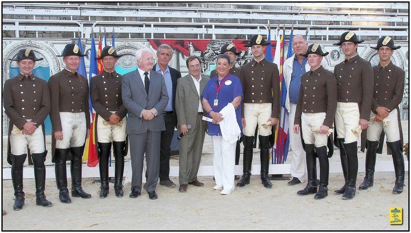 Mercredi  20 aôut 2013, aux arènes d'Arles, accueil, réception et présentation des chevaux Lipizzans et des écuyers de l'Ecole Espagnole de Vienne (Autriche).