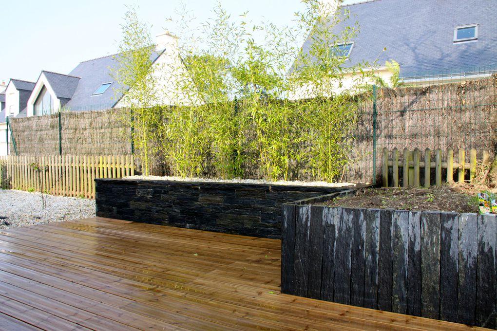 Arbor Minéral basé à Vannes (56) façonne votre jardin en créant des murs en pierres (granit, gneiss, ardoise, bois ...)Nous créons ainsi à votre jardin du volume et une une ambiance totalement différente et personnalisée.