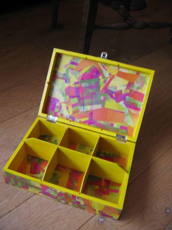 boîtes, plateaux et autres objets en bois brut décorés avec du papier décopatch ou autres papiers - to-do, stampéria, magazines...)